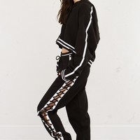 Fenty Sweatpants with Lace Up Side Detail in Black/White