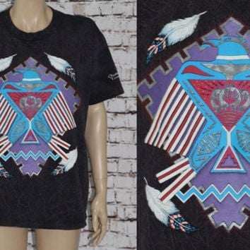 90s Graphic Tee Stone Wash Eagle Indian Feather Native Southwestern Tribal Purple Black Tshirt mens L Hipster festival punk grunge hippie