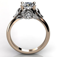 14k two tone rose and white gold diamond unusual unique floral engagement ring, bridal ring, wedding ring ER-1051-6