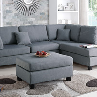 Fabric Sectional Sofa With Ottoman F7606