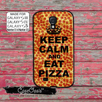 Keep Calm and Eat Pizza Pepperoni Funny Tumblr Inspired Custom Galaxy S5 and S4 and S3 Case and Galaxy Note 2 and Note 3 Case