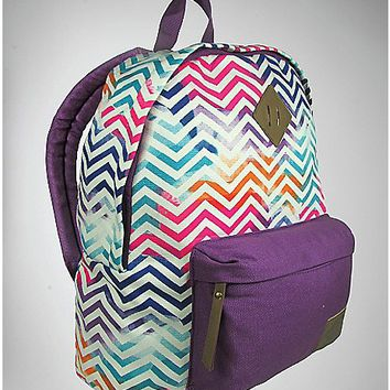 Watercolor Chevron Canvas Backpack - Spencer's
