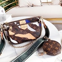 Inseva Louis Vuitton LV Fashionable Women Leather Shoulder Bag Key Pouch Wallet Purse Three Piece Set