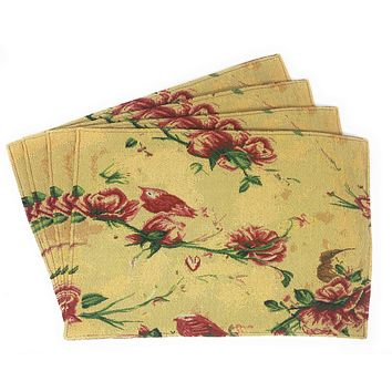 Tache Floral Red Roses Hummingbirds Golden Woven Tapestry Placemat (18115)