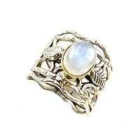 Moonstone Two Tone Vine Sterling Silver Band Ring