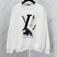 "LV 2018 new ""peace and love"" victory gesture print round neck sweater F-CN-CFPFGYS"