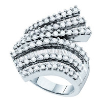 Bagguette Round Diamond Ladies Highend Fashion Ring in 14k White Gold 2 ctw