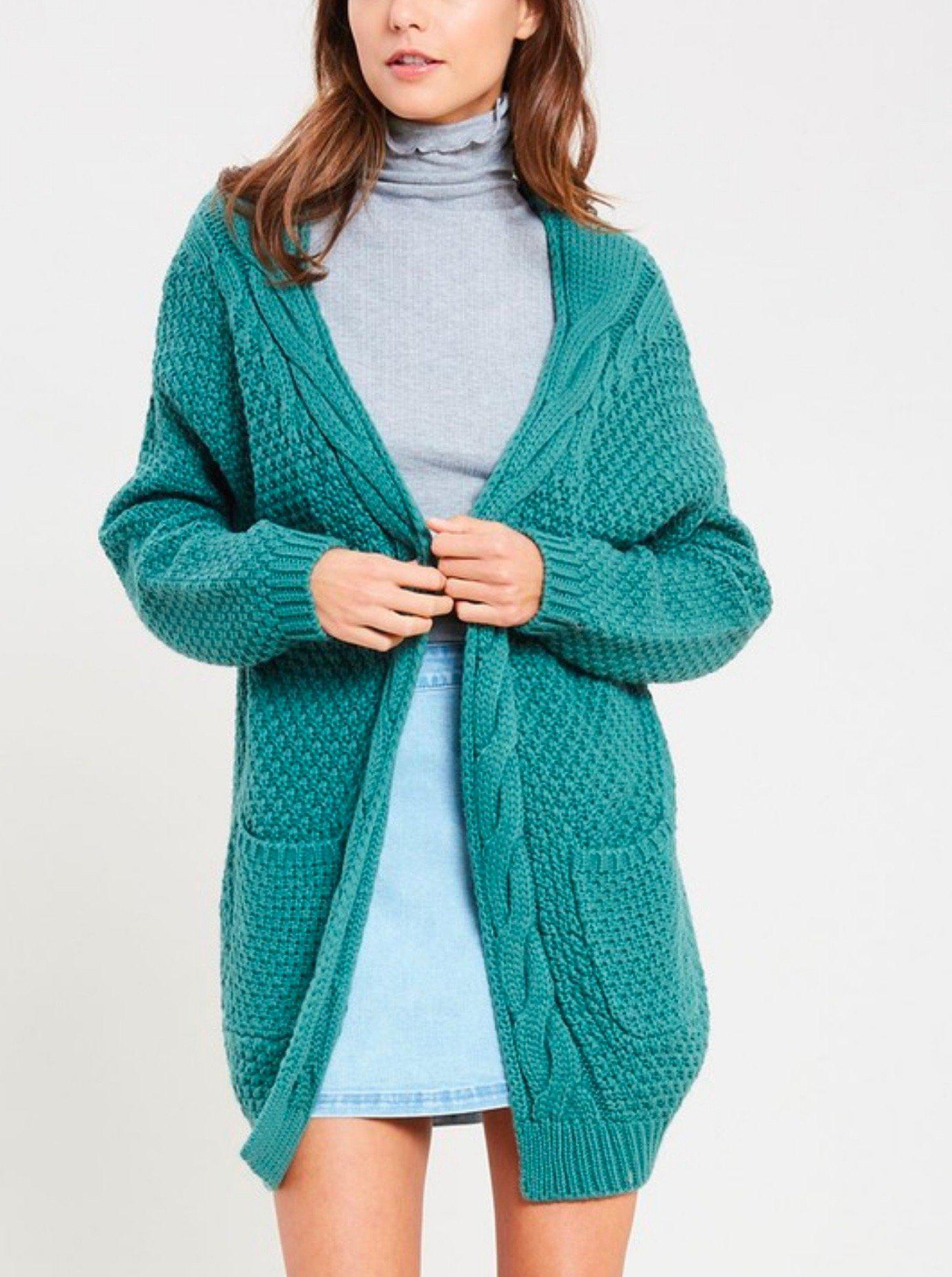 Image of late at night open front cable knit cardigan sweater - midnight green