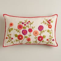 Warm Floral Embroidered Lumbar Pillow - World Market