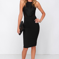 Love Mesh-age Black Lace Midi Dress