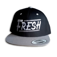 Fresh Snapback - Black and Grey with Fresh Urban design embroidered