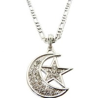 ICED OUT Silver Crescent moon