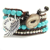 Leather Wrap Bracelet - Turquoise Beads - Personalized Tag - Hand Stamped