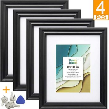 8x10 Picture Frames with 5x7 Mat, Set of 4 Pack