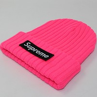 Supreme autumn and winter patch letters knitted hat Pink