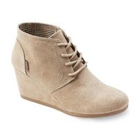Women's Taupe Lace Up Front Wedge Bootie