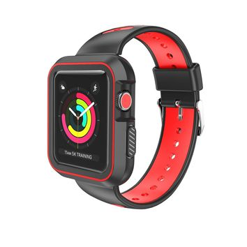 Sport Band with Case for Apple Watch 38mm 42mm,Soft Lightweight Breathable Nylon Sport Loop Replacement Strap for iWatch Apple Watch Series 3,Series 2, Series1,Hermes,Nike+- Black +Red