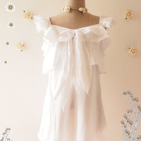 A Girl of Butterfly Blouse Cap Sleeve White Romantic Layered Blouse Summer Tunic Top Beach Tribal Maternity Clothing- Size S-M (US4-8)