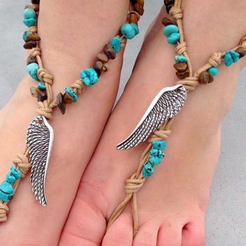 Barefoot sandals. beaded sandals, native america boho barefoot sandles, crochet barefoot sandals, , yoga, anklet hippie shoes
