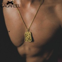GAGAFFEL Men Necklace Long Chain Link Punk Necklace For Men Necklace Gold Dragon Square Pendant Necklace Copper Fashion Jewelry