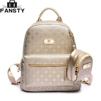 Summer New luxury Women Backpack with Purse Bag Female PU Leather Embossing High Quality School Bag for Teenages Travel bag