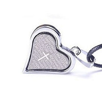 Basket Hill ,Women's Silver And Dark Grey Heart Cross, Bible Verse Necklace And Black Cord