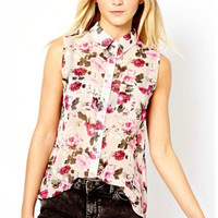 Floral Print Asymmetrical Sleeveless Collared Blouse With Pockets
