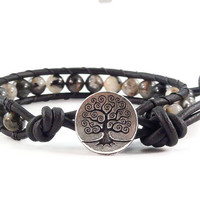 Leather Wrap Bracelet Silver Leaf Jasper Gemstones Tree of Life Black Beaded Jewelry