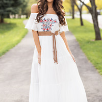 Cabo Cutie Off The Shoulder Cinched Waist Embroidered Maxi Dress (White)