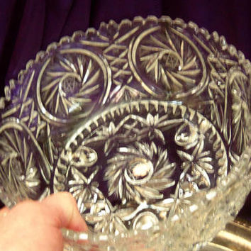 Zajecar Cut Crystal Salad Bowl, Three Toed Footed, Saw Tooth Rim, Whirled Hobstar Criss Cross Pattern, Leaded Crystal Centerpiece Bowl