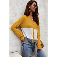Color Block Button Up Thermal Top - Mustard