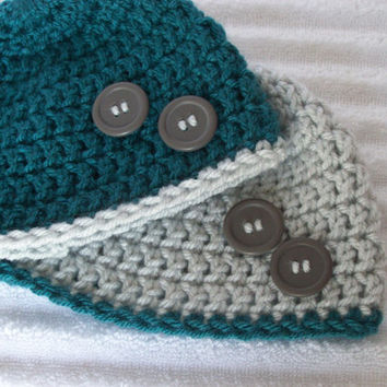 Teal and Grey Baby Beanie Set, Crochet Baby Beanie, Newborn Hat, Newborn Beanie, Crochet Baby Hat, Baby Beanies
