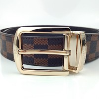 LV Classic Checkerboard Belt Pin Buckle Belt