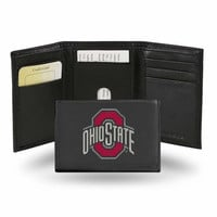 Ohio State Buckeyes Embroidered Leather Tri-Fold Wallet