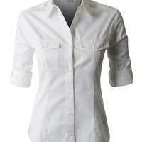 PREMIUM Easy Care Roll Up Sleeve Twill Button Down Shirt (CLEARANCE)