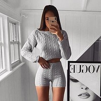 Autumn and winter women's new round neck long-sleeved solid color knitted suit two-piece suit