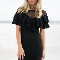 Yes To The Mesh Black Double Layered Ruffle Dress