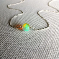 High Color Play Round Ethiopian Welo Opal Stone Solitaire Pendant Necklace & 925 Sterling Silver or 14k Rose Gold Fill Chain Unique