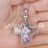 Graceful Faux Crystal Glass Dry Flower Cross Shape Beads Necklace For Women