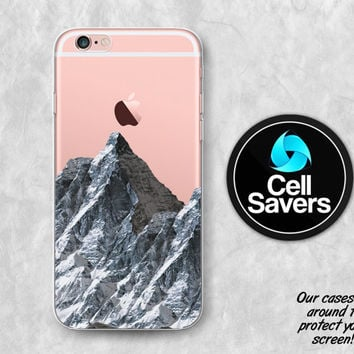 Mountain Clear iPhone 6s Case iPhone 6 Case iPhone 6 Plus Case iPhone 6s Plus iPhone 5c Case iPhone 5 Clear Case Nature Mountain Snow Travel