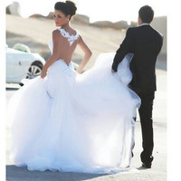 Real photo  very Sexy  Backless  flowers  romantic Mermaid  Wedding Dresses vestidos de noiva robe de mariage get a free veil