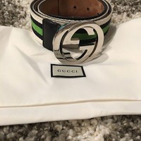 Authentic Limited EDITION Gucci GG Silver Buckle Belt Size 90