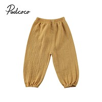 Brand Toddler Infant Child Baby Girls Boy Pants Wrinkled Cotton Vintage Bloomers Trousers Legging Solid Pants 6M-4T