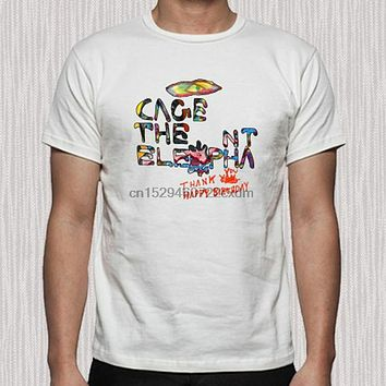 Cage The Elephant Thank You Happy Birthday Mens White T Shirt Size S to 3XL|T-Shirts