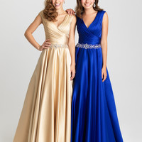Madison James 16-419 Satin Evening Gown MOB or Modest Prom Dress