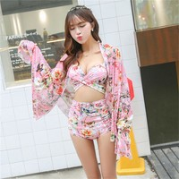 High Waist Retro Floral Printed 2 Piece Swimsuit and Sarong 2 Colors