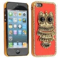 Red Crystal Electroplating Owl Hard Case Cover For Apple iPhone 5 5G
