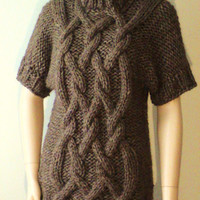 Hand knit    Sweater   with Cables Made  from soft   Alpaca  yarn