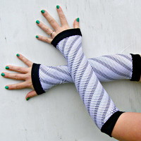 baby grand Piano Key Arm Warmer Gloves gift music blac and white
