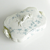 """Antique Covered Serving Dish, Turners Tunstall """"Spring"""", Blue Flowers on White, Covered Serving Bowl. c.1879 - 1909."""
